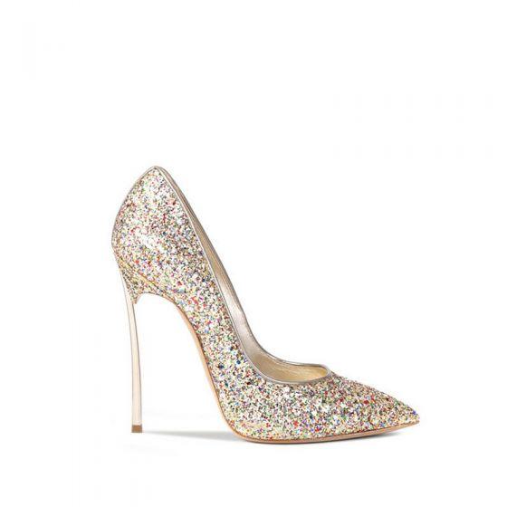 Glitter Goud Bruidsschoenen 2019 Pailletten 12 cm Naaldhakken / Stiletto Spitse Neus Huwelijk Pumps