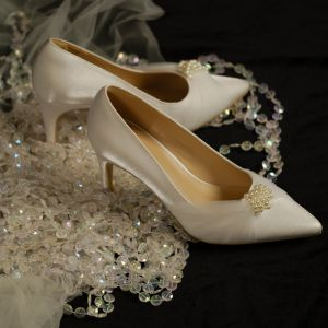 Elegant Ivory Bridesmaid Pearl Pumps 2020 Satin 7 cm Stiletto Heels Pointed Toe Pumps