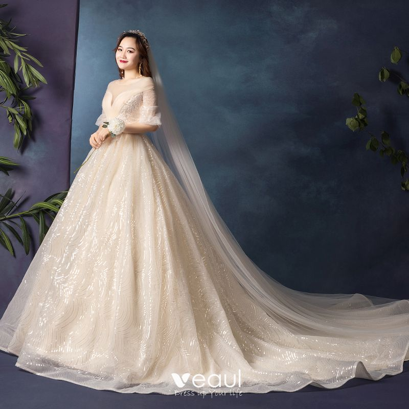 Sparkly Bling Bling Plus Size Champagne Wedding Dresses 2019 A-Line /  Princess V-Neck 1/2 Sleeves Tulle Glitter Sequins Chapel Train