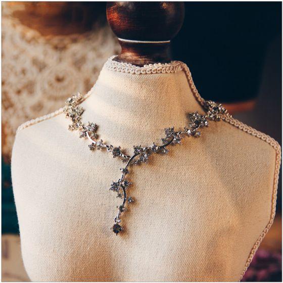 Romantisk Sølv Halskæder 2017 Rhinestone Metal Accessories Brudesmykker
