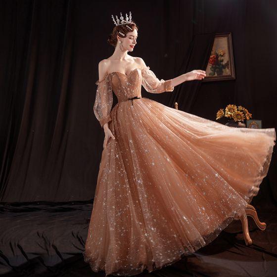Gwiazda Brązowy Sukienki Na Bal 2020 Princessa Przy Ramieniu Bufiasta Długie Rękawy Długie Wzburzyć Bez Pleców Sukienki Wizytowe