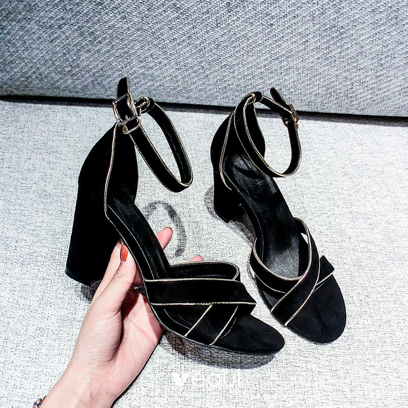 Chic / Beautiful 2017 8 cm / 3 inch Black Casual Outdoor / Garden PU Summer X-Strap High Heels Thick Heels Open / Peep Toe Pumps