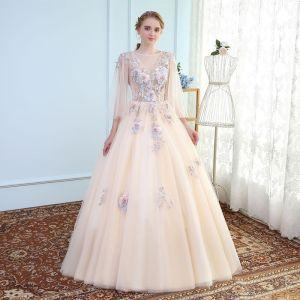 Chic / Belle Champagne Robe De Bal 2017 Princesse Dentelle U-Cou Fait main Appliques Dos Nu Perlage Promo Robe De Ceremonie