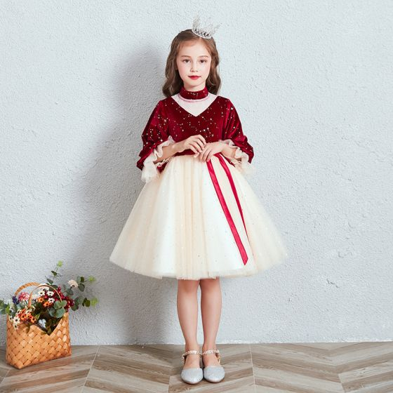 Vintage / Retro Red Champagne Suede Winter Birthday Flower Girl Dresses 2020 Princess High Neck Puffy 3/4 Sleeve Star Embroidered Sash Short Ruffle