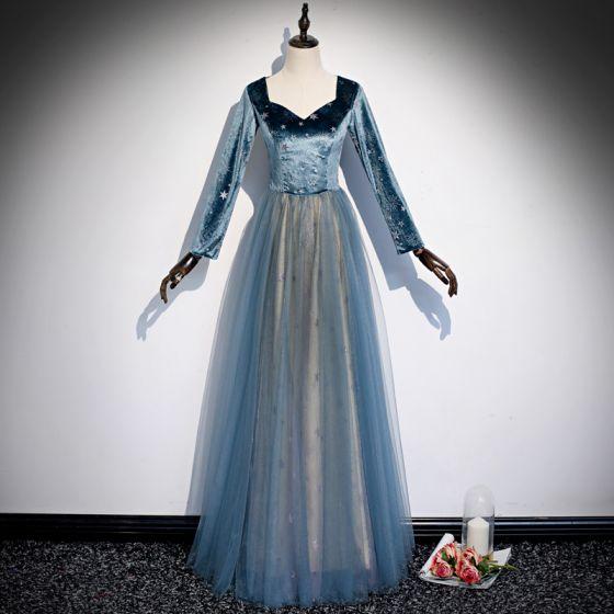 Elegant Pool Blue Star Prom Dresses 2020 A-Line / Princess Suede V-Neck Long Sleeve Floor-Length / Long Formal Dresses