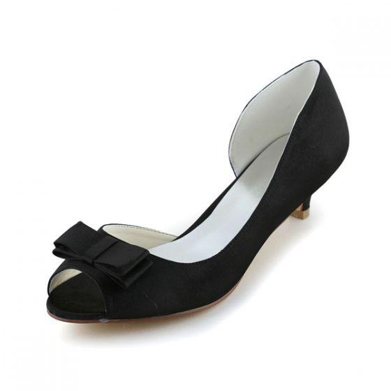 Vintage Peep Toe En Satin Noir Petit Talon Ouvert Chaussures De Mariée De Côté Avec Noeud