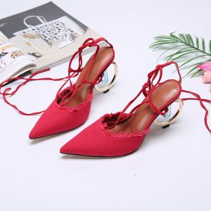 Fashion Red Casual Womens Sandals 2020 Leather Ankle Strap 10 cm Thick Heels Pointed Toe Sandals