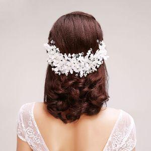 Blonder Rhinestone Blomster Perle Brude Hodeplagg / Hode Blomst / Bryllup Har Tilbehør / Bryllup Smykker