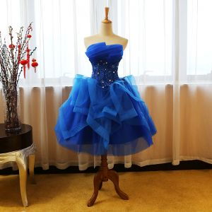 Chic / Beautiful Royal Blue Prom Dresses 2017 Ball Gown Strapless Sleeveless Appliques Lace Rhinestone Sequins Tea-length Cascading Ruffles Backless Formal Dresses
