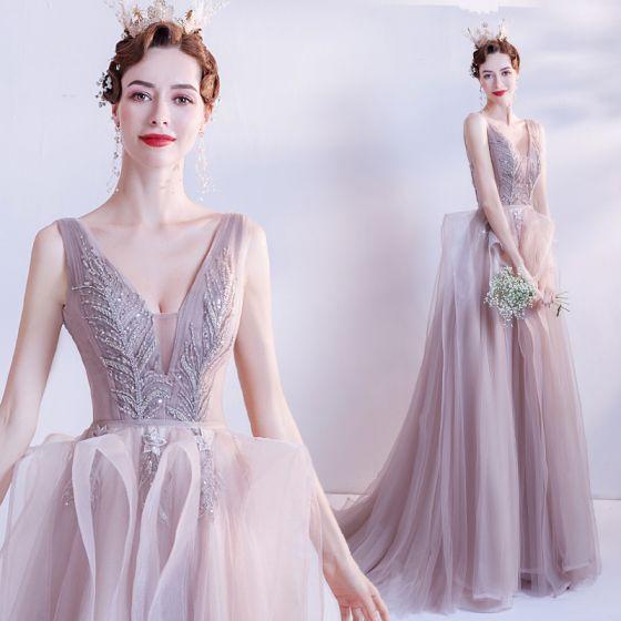 Uroczy Różowy Perłowy Sukienki Na Bal 2021 Princessa Głęboki V-Szyja Frezowanie Cekiny Bez Rękawów Bez Pleców Trenem Sweep Sukienki Wizytowe