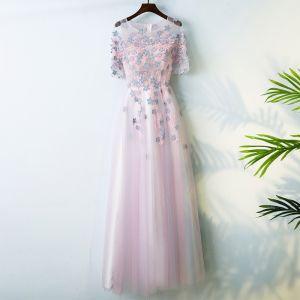 Schöne Pink Abiballkleider 2017 A Linie Rundhalsausschnitt Reißverschluss 1/2 Ärmel Applikationen Blumen Garten / Im Freien Wadenlang