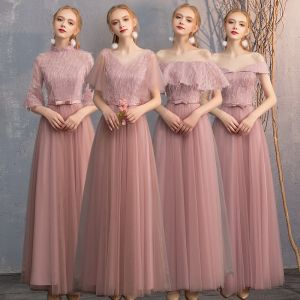Chic / Beautiful Pearl Pink Lace Bridesmaid Dresses 2019 A-Line / Princess Bow Sash Floor-Length / Long Ruffle Backless Wedding Party Dresses