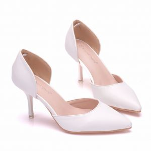 Modest / Simple White Office High Heels 2018 7 cm Stiletto Heels Pointed Toe Womens Shoes
