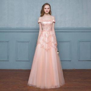 Élégant Perle Rose Robe De Bal 2017 Princesse Perle Rose Promo Paillettes De l'épaule Dos Nu Bretelles croisées Sans Manches Longue