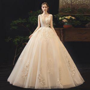Elegant Champagne Wedding Dresses 2019 Ball Gown V-Neck Lace Flower Sleeveless Backless Floor-Length / Long