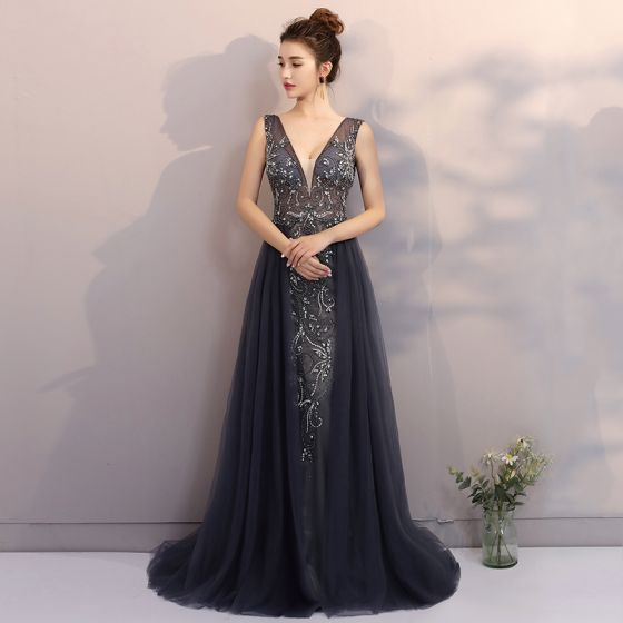 Luxury / Gorgeous Navy Blue Evening Dresses  2017 A-Line / Princess V-Neck Lace Handmade  Rhinestone Beading Appliques Backless Evening Party Formal Dresses