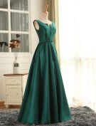 Abendkleid 2016 Einfache Tiefem V-ausschnitt Gerafft Dunkelgrünen Satin Festliche Kleider Lange Mit Schärpe