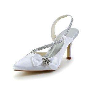 Beautiful White Wedding Shoes Satin Stilettos Sandals Slingbacks With Rhinestone Bow