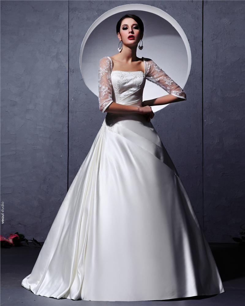 Long Sleeve A-line Wedding Gown Dress
