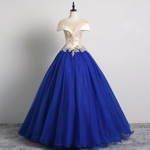 Vintage / Retro Royal Blue Prom Dresses 2019 Ball Gown Scoop Neck Pearl Lace Flower Appliques Cap Sleeves Backless Floor-Length / Long Formal Dresses