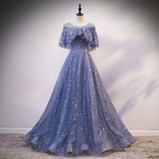 Eleganckie Ciemnoniebieski Przezroczyste Sukienki Wieczorowe 2020 Princessa Wycięciem Bez Rękawów Cekinami Tiulowe Rhinestone Frezowanie Cekiny Długie Wzburzyć Bez Pleców Sukienki Wizytowe