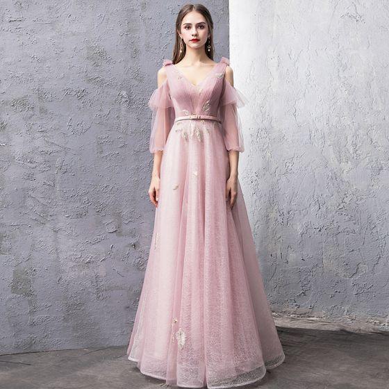 Mote Rødmende Rosa Selskapskjoler 2019 Prinsesse V-Hals Puffy 3/4 Ermer Sash Glitter Tyll Lange Buste Ryggløse Formelle Kjoler