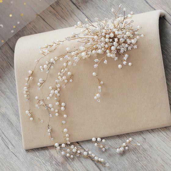 Luxus Beige Hårpynt 2019 Metal Perle Rhinestone Bryllup Accessories