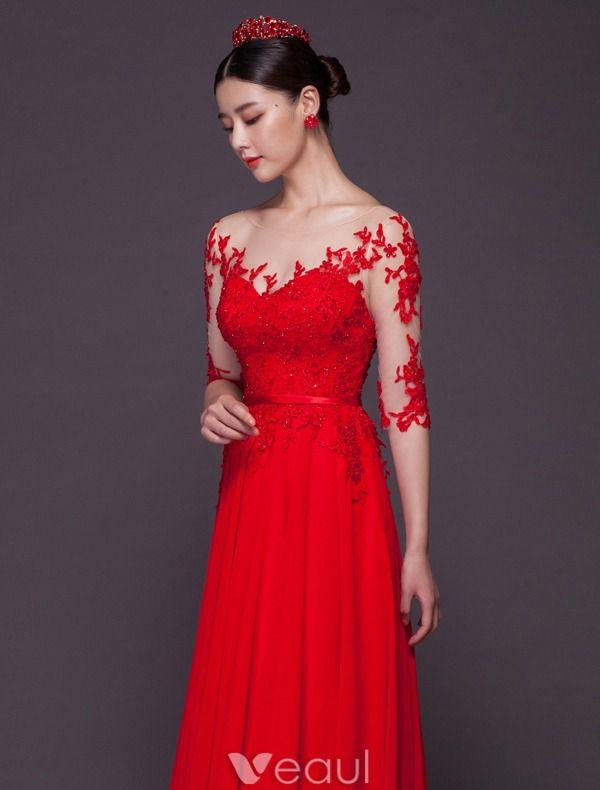 Reizvolle Abendkleider Lang 2016 U-ausschnitt Pailletten Spitze Backless Roten Chiffon Festliche Kleider