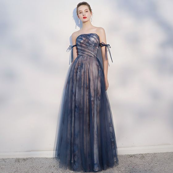 Elegant Navy Blue Evening Dresses  2018 A-Line / Princess Bow Backless Strapless Sleeveless Floor-Length / Long Formal Dresses
