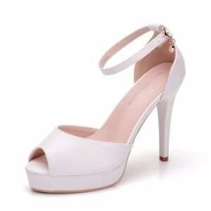 Modest / Simple White Casual Womens Shoes 2018 Ankle Strap 11 cm Stiletto Heels Open / Peep Toe High Heels