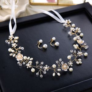 Elegant Ivory Headbands 2020 Metal Lace-up Rhinestone Pearl Headpieces Earrings Wedding Bridal Hair Accessories