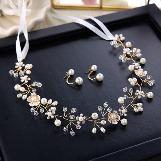Elegant Ivory Headbands 2020 Metal Lace-up Rhinestone Pearl Headpieces Earrings Wedding Bridal Hair Accessories
