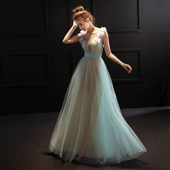 Chic / Beautiful 2017 Green Evening Dresses  Chiffon V-Neck Appliques Backless A-Line / Princess Party Dresses
