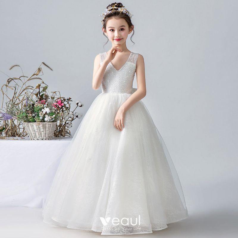 Elegant Blanche Robe Ceremonie Fille 2020 Princesse V Cou Sans Manches Paillettes Perlage Dos Nu Noeud