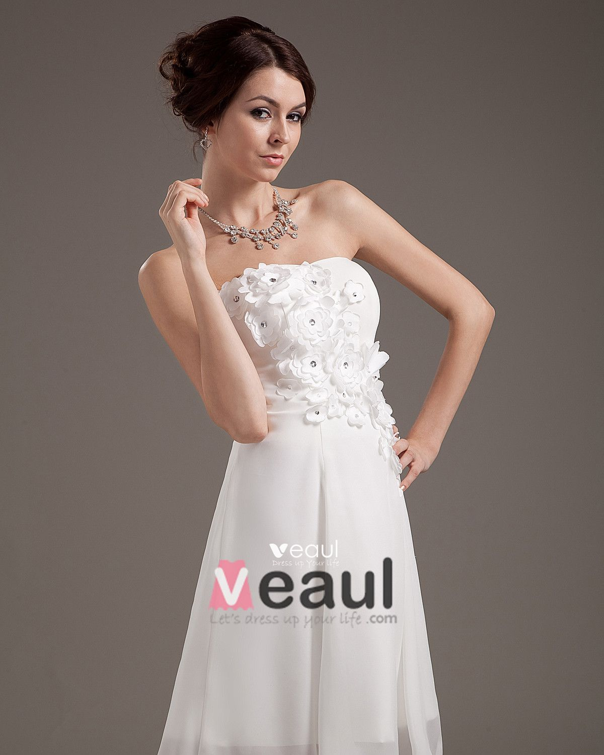 Applique Chiffon Sleeveless Sweetheart Short Mini Wedding Dresses