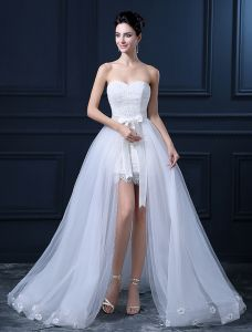 Short & Mini Sweetheart Sleeveless Detachable Tail Wedding Dress