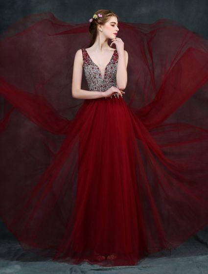 Sparkly Prom Dresses 2016 A Line V Neck Beading Crystal Rhinestone