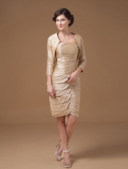 Wonderful Square Knee Length Satin Beading Mothers of Bride Special Guests Dress