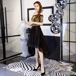 Uroczy Złote Czarne Sukienki Koktajlowe 2019 Princessa Przy Ramieniu Z Koronki Cekiny Kokarda Kótkie Rękawy Bez Pleców Asymetryczny Sukienki Wizytowe