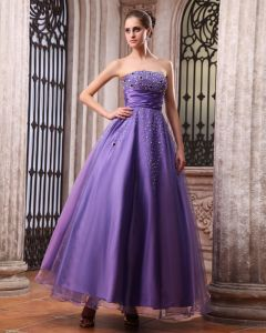 Sleeveless Satin Organza Beading Strapless Floor Length Prom Dresses
