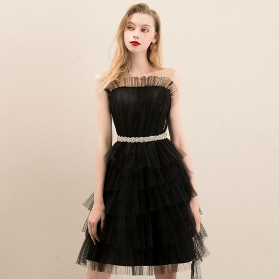 Chic / Beautiful Black Homecoming Graduation Dresses 2020 A-Line / Princess See-through Scoop Neck Sleeveless Rhinestone Sash Short Ruffle Formal Dresses