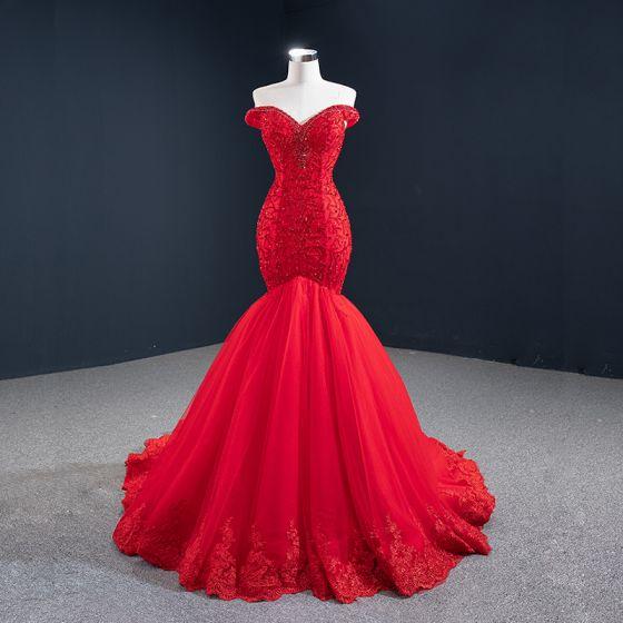 Luxus / Herrlich Rot Abendkleider 2020 Meerjungfrau Off Shoulder Kurze Ärmel Perlenstickerei Sweep / Pinsel Zug Rüschen Rückenfreies Festliche Kleider