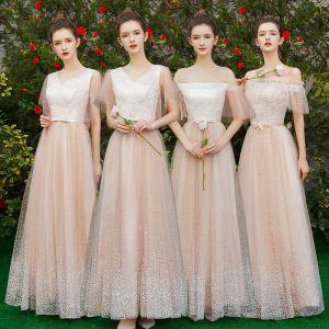 Elegante Champagner Brautjungfernkleider 2019 A Linie Geflecktes Tülle Schleife Stoffgürtel Lange Rüschen Kleider Für Hochzeit