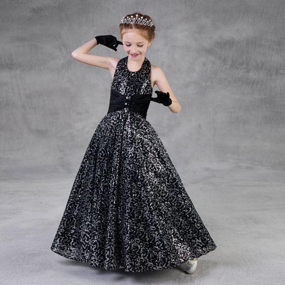 Sparkly Svart Paljetter Blomsterpikekjoler 2018 Prinsesse Holder Uten Ermer Lange Buste Ryggløse Kjoler Til Bryllup