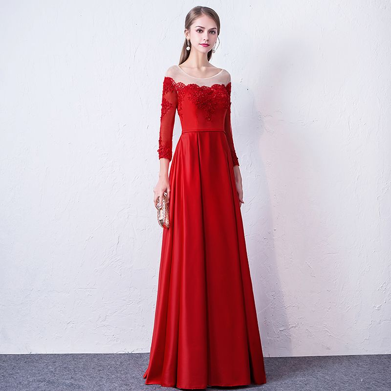 Chic / Beautiful Red Evening Dresses  2019 A-Line / Princess Scoop Neck Appliques Beading Lace Flower 3/4 Sleeve Backless Floor-Length / Long Formal Dresses