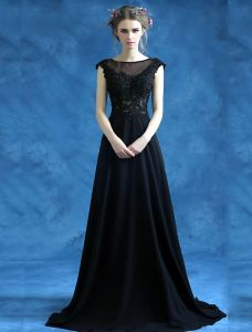 Beautiful Long Lace Evening Dress Black Formal Dress Sleeveless