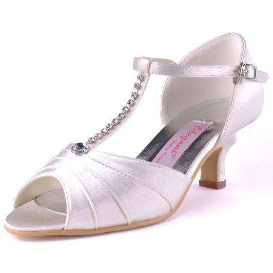 Chaussures De Soirée Nuptiale En Blanc Avec Chaine De Diamant Rouge De Satin Sandales Tete De Poisson Chaussures De Mariage