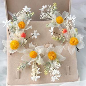 Śliczny Złote Kwiat Ozdoby Do Włosów Ozdoby Do Włosów Ślubne 2020 Metal Kwiat Jedwabiu Kolczyki Akcesoria