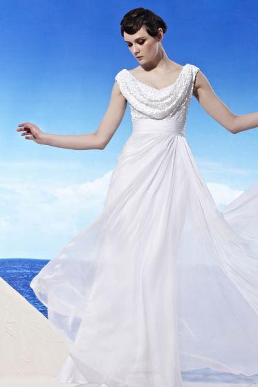 U Pattern Neck Beading Ruffle Sleeveless Backless Floor Length Chiffon Woman Evening Dresses
