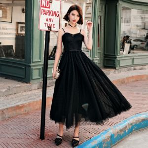 Chic / Beautiful Black Prom Dresses 2018 A-Line / Princess Spotted Bow Spaghetti Straps Backless Sleeveless Ankle Length Formal Dresses